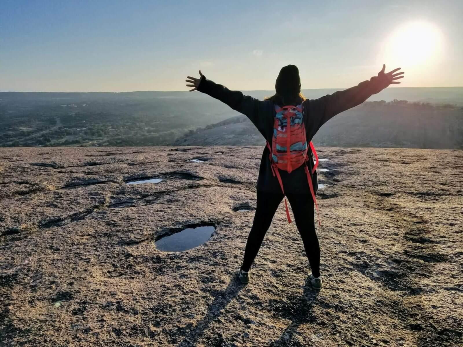 hiking at enchanted rock