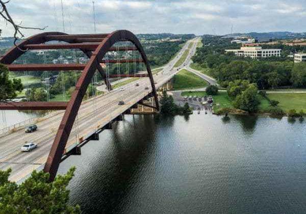 Pennybraker bridge from Lake Austin 360 Bridge Overlook